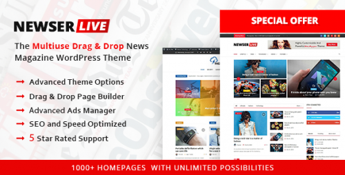 [nulled] Newser v1.0.5 - The Multiuse Drag and Drop News Magazine snapshot
