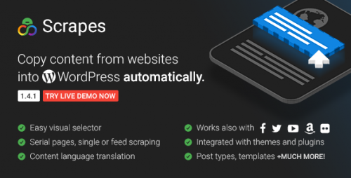 [nulled] Scrapes v1.4.1 - Web scraper plugin for WordPress cover